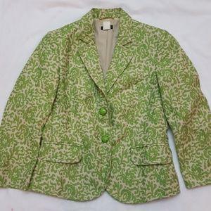 J. Crew Green Printed Linen Blend Blazer